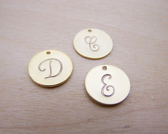 Hand Stamped Gold Initial Charm / Script Font / Alphabet Initial Disc / DIY Charm / Jewelry Findings / Initial Charm - Alphabet Charm