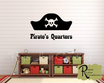 Pirate Decal- Pirate's Quarters Pirate Wall Decal- Boys Bedroom Wall Decal Boys Room Decor Wall Decals- Kids Pirate Decor- Boys Room Decal-