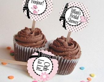 12 Cupcake Picks, Cupcake Toppers, Pink & Black, French Poodle, Paris Eiffel Tower, Wedding, Bridal Shower, Baby Shower, Birthday