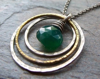 Emerald Green Onyx Sterling Silver Brass Pendant Necklace
