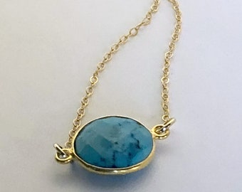 HRM Spring 2018 Journey Petite 12m Turquoise Bezel Necklace with 14kt gold filled chain