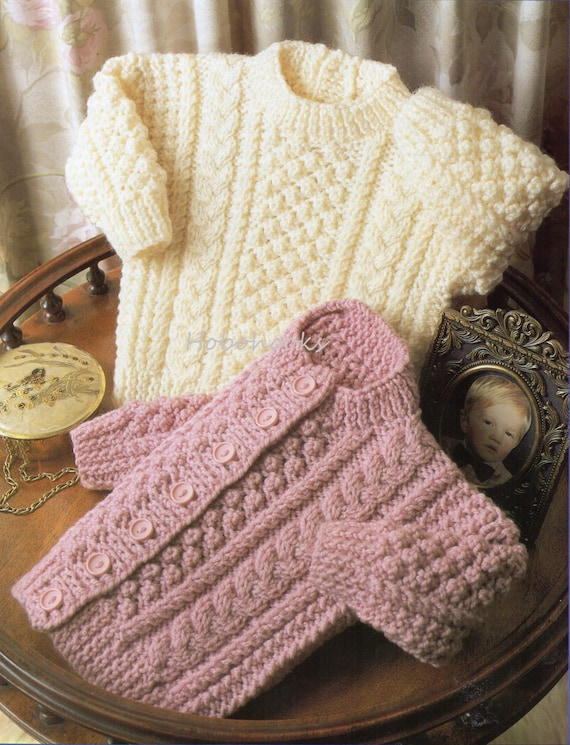 Baby Knitting Pattern Baby Aran Sweater Baby Aran Cardigan
