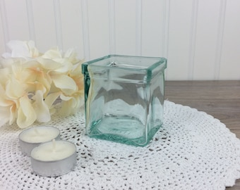 Vintage Aqua Glass Votive Candle Holder, Square Shape, Made in Italy / Shabby Chic Decor / Candle holder for tea lights or votive candles