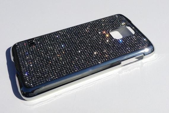 Galaxy S5 Black Diamond Rhinestone Crystals on Silver Chrome  Case. Velvet/Silk Pouch Bag Included, Genuine Rangsee Crystal Cases.