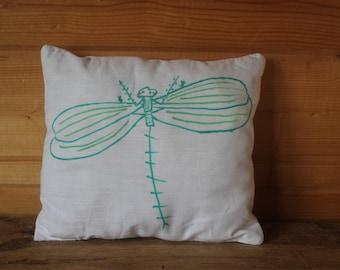 Cushion, dragonfly cushion, illustrated cushion, decorative cushion, cushion for room, cushion drawn,cushion home decoration.