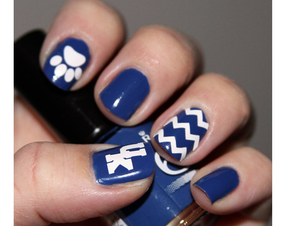 Wildcats Fingernail Stickers Set Chevron Nail Decal