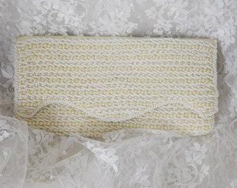 "Vintage Rags by Debbie Beaded Clutch 4 1/2"" x 8 1/2"" x 1"" - Ivory - Beautiful & Clean!"