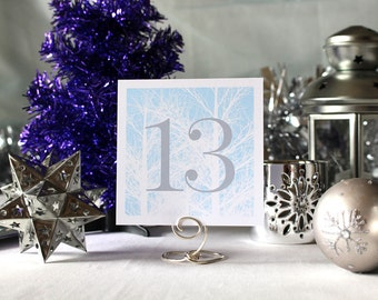 Winter Trees Wedding Table NumberRomantic Powder Blue Party Christmas New Year's Eve