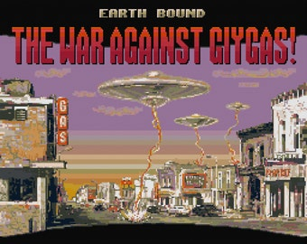 Earthbound/Mother 2 B-Movie Poster Cross Stitch Pattern