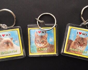 Keychains, Cats, Retro cat, I Heart My cat,  Himalayan, Maine Coon, Tabby, retro keychains, cat ephemera