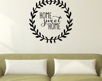 Wall Quote Decal Home Sweet Home Leaf Garland Family Room Living Kitchen Love Wall Art Vinyl Wall Decal