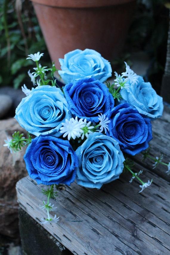 Wedding Paper Flower Bouquet Blue Paper Roses Bouquet Red