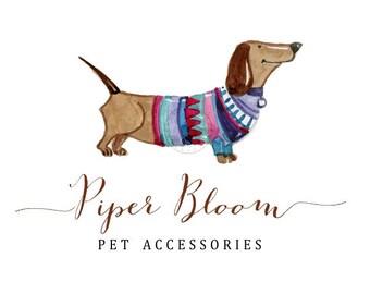 Premade Logo Dog Pet Animal Dachshund Kids Logo Accessories Watercolor Custom Shop Logo Business Card Branding Design Wedding Signs LD116