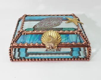 Etched, Hand Painted, Sea Shell, Stained Glass Box, Jewelry Box, Gift Box, Memory Box,  Keepsake Box