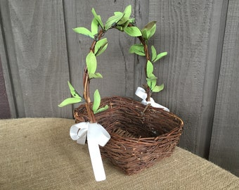 Twig basket/ greenery twig flower girl basket/flower girl basket/ wedding basket/ rustic flower girl basket/ woodland flower girl basket