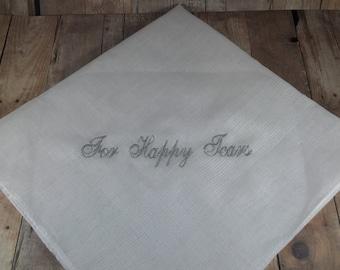 For Happy Tears Handkerchief, the Perfect Bridesmaid Gift, Wedding keepsake.