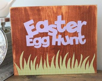 Rustic Easter egg Hunt sign spring sign Easter grass Easter gift decor wall hanging