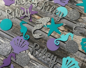 Mermaid birthday party table confetti/ under the sea table scatters/ personalized party decor