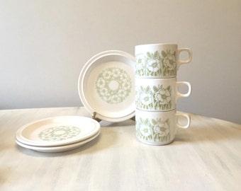 Hornsea tea set, pottery tea set, vintage tea set, vintage Hornsea, English tea set, porcelain tea set, vintage tea cup, vintage pottery