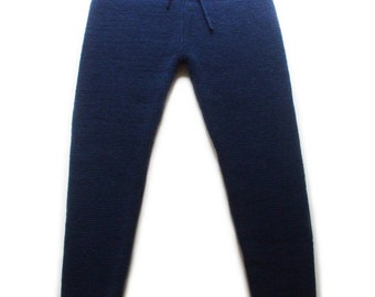 Women's knitted lambswool winter leggings with string fastening/woolen pants/trousers/winter pants/long pants