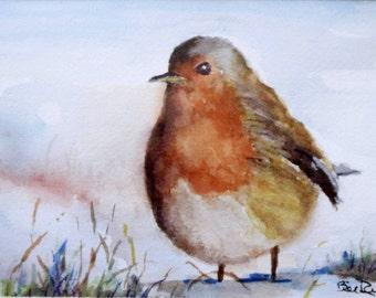 "Robin in the Snow - 8"" x 10"" art print Home Decor"