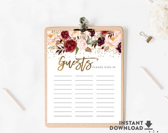 Guest List Sign In Sheet Printable Guest List Burgundy Gold Bridal Shower Wedding Decorations Printable (Instant Download) No.51BRIDE