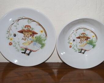 Little Miss Muffet Ridgway Bowl & Plate Set Staffordshire England