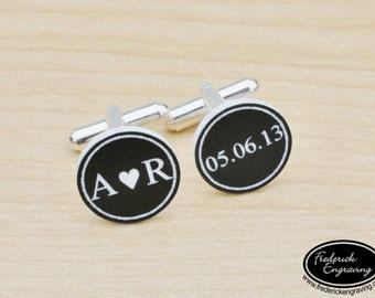 Personalized Wedding Cuff Links - Gifts for Him - Handmade Cufflinks - Engraved Custom Cuff Links - Groom's Gift - CF-09