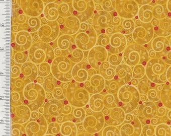 Mistletoe - Per Yd - Benartex - Get in on the Kissing Game - Swirls on Goldenrod