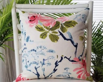 Duralee Oriental Asian Chinoiserie Floral Toile Pink Blue Pillow Cover
