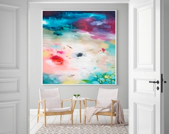 Abstract art print, modern landscape, Print on Canvas, blue purple, Art Print for living Room, abstract Giclee print, abstract painting