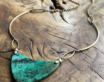 African turquoise necklace, shield necklace, antique brass, geometrical, minimalist