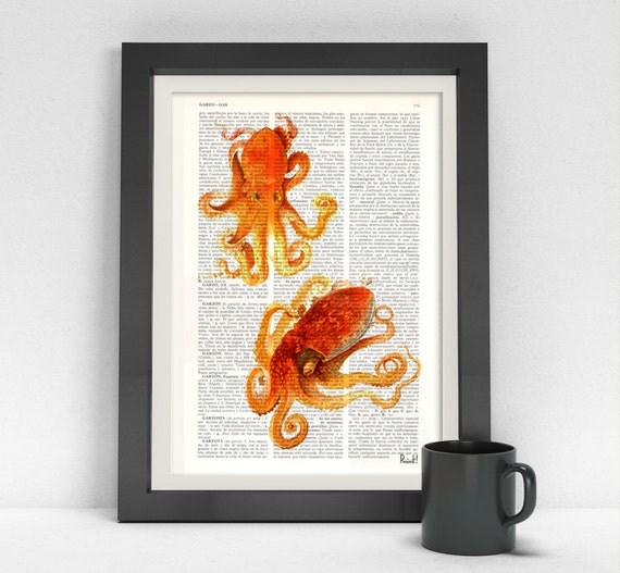 Art Print on Dictionary Two orange Octopus Beach house wall art octopus print Octopus wall art Wall decor sealife BPSL06