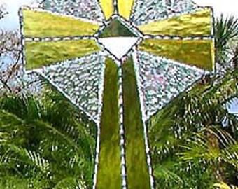 Stained Glass Suncatcher, Gold Cross, Glass Sun Catcher, Cross Suncatcher, , Stained Glass Art, Sun Catchers, Christian Gifts, 9515-P-GL
