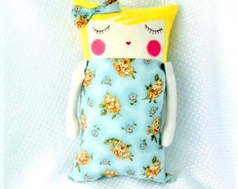 Doll, handmade pillow doll, cushion doll, soft doll, doll gift for toddler.
