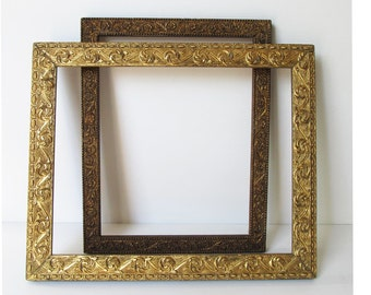 Antique Frames,  Embossed, One Bright Gold Finish with Swirls, One Bronzier Gold Finish, Floral, & Bead Pattern, c.1910, Original Finishes