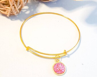 Pink colour bangle, faux druzy , small gold adjustable bangle, sparkle bracelet, glitter look bangle,pink stone, glittery,