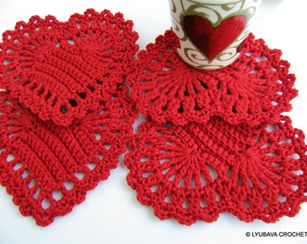 Crochet Housewarming gift Red heart coasters Crochet hearts Crochet coasters Set of 4 Crochet home decor Handmade coasters Crochet gift idea