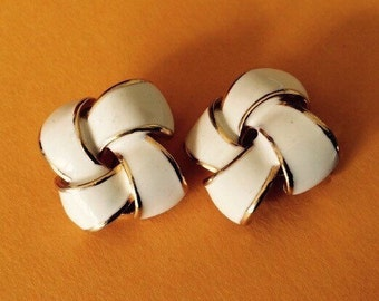 Classic Gold and Bone Enamel Knot Clip On Earrings
