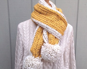 Long scarf with pompoms - Women's super scarf - Pompom gold scarf - Crocheted traditional scarf - Gift for her