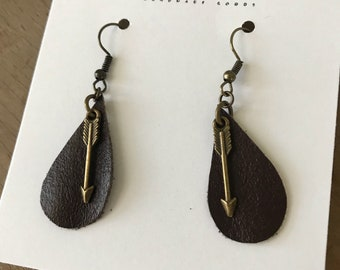 Tear Drop Repurposed Brown Leather Earrings with Arrows