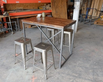 Industrial Steel and Wood Bar Table / Pub Table