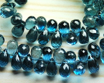 20 Pcs of Extremely Beautiful,LONDON BLUE Topaz Faceted Drops Shape Briolette,7-8mm