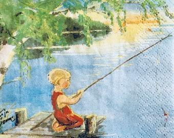 "3 Decoupage Beverage Napkins, Tarja Senne Boy Fishing Pond 10""x 10"" Craft Supplies"
