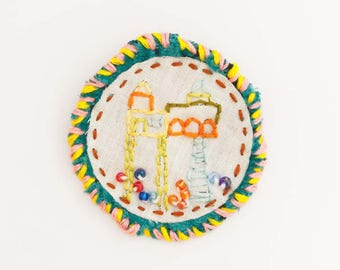 Gift idea: Brooch embroidered fancy handmade velvet and linen home pattern