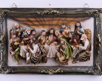 16-Inch Christmas Last Supper Wall Hanging Plate Décor Resin Cameo Sculpture Plaque