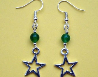 Star Earrings with Sterling Silver Hooks & Green Glass Beads New LB58
