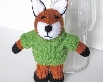 Woodland Fox Stuffed Animal, Hand Knit Plush Fox Doll in Sweater, Girl Boy Toddler Kid Birthday, Newborn Baby Nursery Toy, Green Rust White