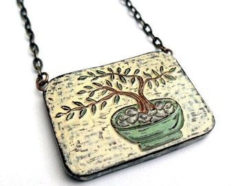 Japanese Bonsai Tree Necklace, Zen Jewelry, Meditation Jewelry, Tree of Life Necklace, Gift for Wife, Mom Gift, Girlfriend Gift