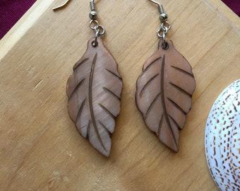 Orange Leaf Shell Earrings